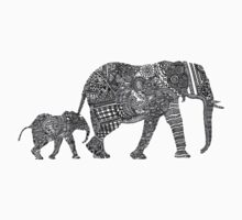 B & W Zentangle Elephants Baby Tee