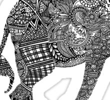B & W Zentangle Elephants Sticker