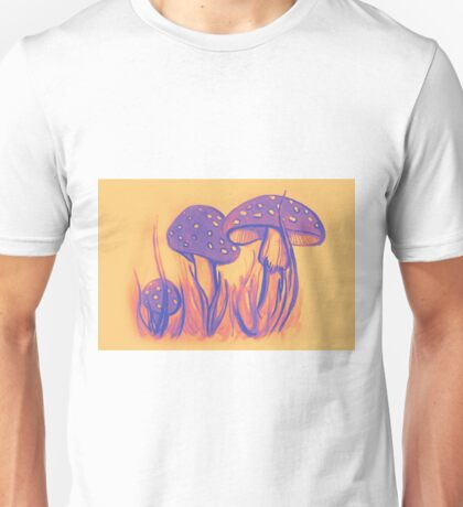 Watercolor of mushrooms in the grass Unisex T-Shirt