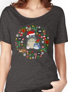 Christmas Totoro in Dark Grey - Holiday, Xmas, Presents, Peppermint, Candy Cane, Mistletoe, Snowflake, Poinsettia, Anime, Catbus, Soot Sprite, Blue, White, Manga, Hayao Miyazaki, Studio Ghibl Women's Relaxed Fit T-Shirt