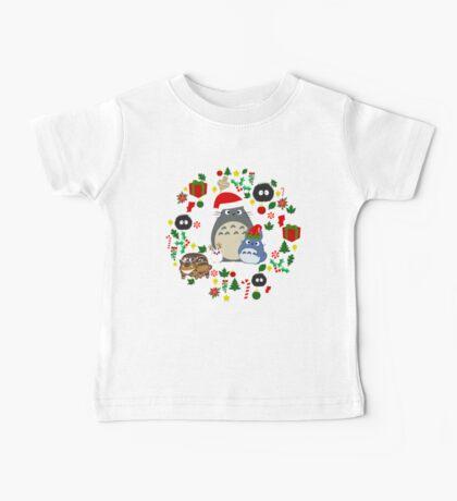 Christmas Totoro in Lighter Grey - Holiday, Xmas, Presents, Peppermint, Candy Cane, Mistletoe, Snowflake, Poinsettia, Anime, Catbus, Soot Sprite, Blue, White, Manga, Hayao Miyazaki, Studio Ghibl Baby Tee
