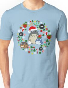Christmas Totoro in Lighter Grey - Holiday, Xmas, Presents, Peppermint, Candy Cane, Mistletoe, Snowflake, Poinsettia, Anime, Catbus, Soot Sprite, Blue, White, Manga, Hayao Miyazaki, Studio Ghibl Unisex T-Shirt