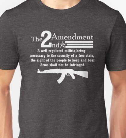 Cool 2nd Amendment Guns white Unisex T-Shirt
