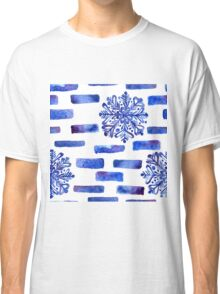 Beautiful watercolor snowflakes seamless ornament for christmas winter design Classic T-Shirt