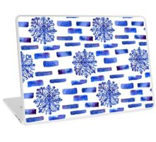 Beautiful watercolor snowflakes seamless ornament for christmas winter design Laptop Skin