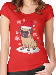 Christmas Pug (red) Women's Fitted Scoop T-Shirt