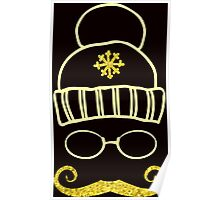 Vector Set Christmas Calligraphic Design Elements and Page Decoration, hat glasses and mustache hipster with golden texture Poster