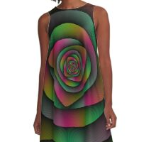 Spiral Labyrinth in Green Pink and Purple A-Line Dress