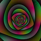 Spiral Labyrinth in Green Pink and Purple by Objowl