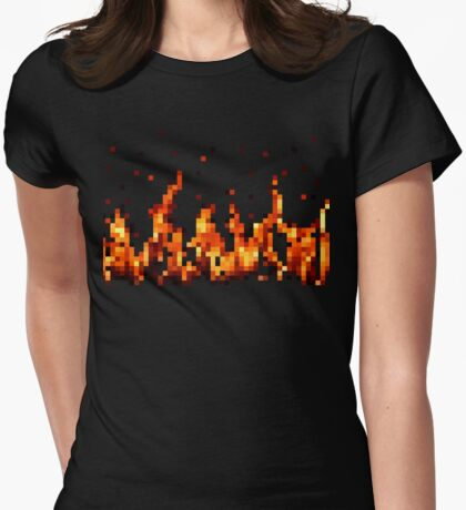 Pixel Fire! Womens Fitted T-Shirt
