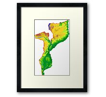Mozambique Topographical Map Framed Print