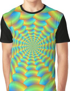 Blue and Yellow Spiral Graphic T-Shirt