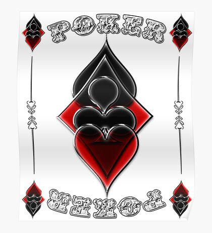Great Poker Design Spades Hearts Diamonds Club Shiny Bling Overlap Poster