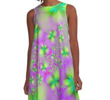 Green Yellow and Pink Abstract Flowers A-Line Dress