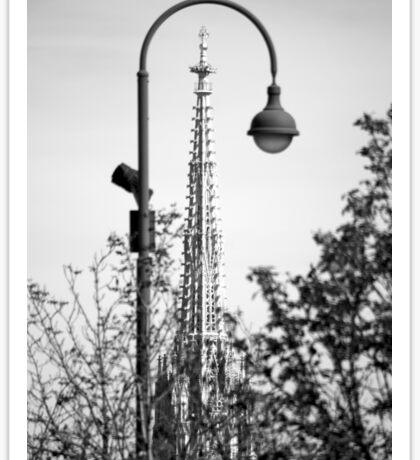 Church spire through a lamppost Sticker