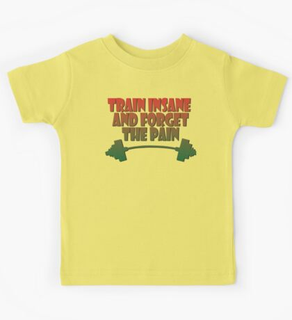 train insane and forget the pain jamaique Kids Tee