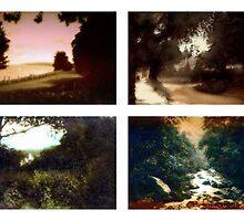 Tiled composition of four antique photographs of rural Britain taken around 1910 by cherylkerkin