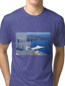 White architecture in Santorini, Greece Tri-blend T-Shirt