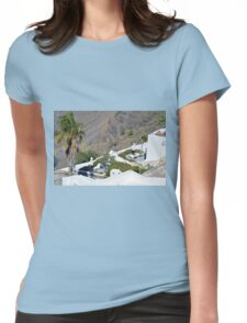 White architecture in Santorini, Greece Womens Fitted T-Shirt