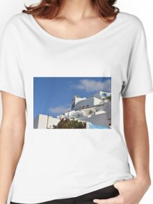 White architecture in Santorini, Greece Women's Relaxed Fit T-Shirt