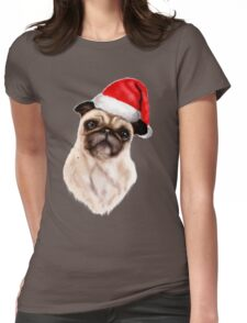 Merry Pug Xmas! Womens Fitted T-Shirt