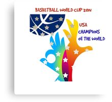 FIBA Official logo decorated with American symbols and text Canvas Print