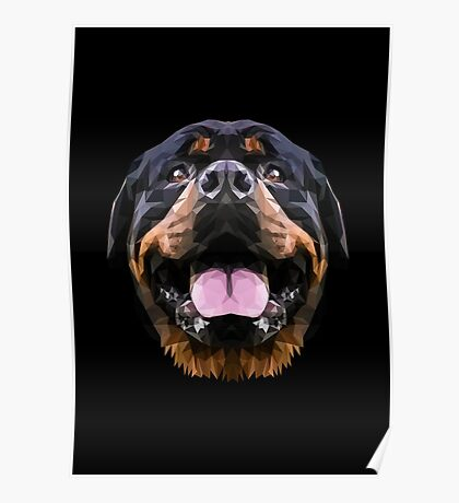 Rottweiler dog low poly. Poster