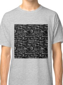 seamless doodle coffee pattern on black background Classic T-Shirt