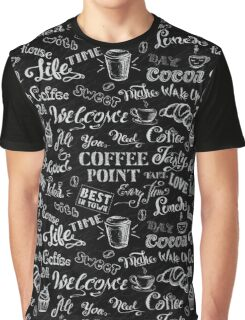 seamless doodle coffee pattern on black background Graphic T-Shirt