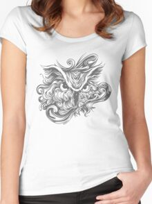 Graphic Soul Peering Owl Women's Fitted Scoop T-Shirt