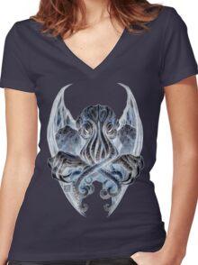Cthulhu Dreaming, in Daemoniac black Women's Fitted V-Neck T-Shirt