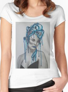 Tentacles Original Watercolor Print Women's Fitted Scoop T-Shirt