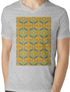 Blue and Purple Abstract Swirls on Yellow Mens V-Neck T-Shirt