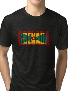 Grenada Font With Flag Tri-blend T-Shirt