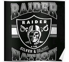 Raiders Nation Silver & Black Poster