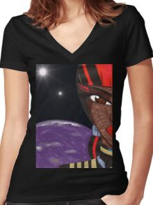 Defender of the Worlds Women's Fitted V-Neck T-Shirt