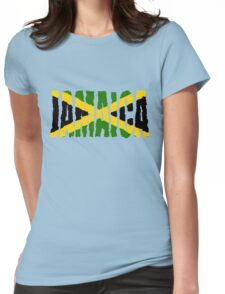Jamaica Font With Jamaican Flag Womens Fitted T-Shirt