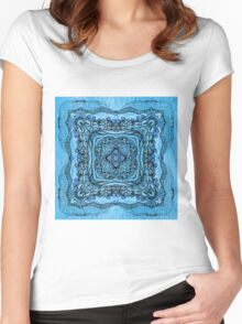 blue garden patttern Women's Fitted Scoop T-Shirt