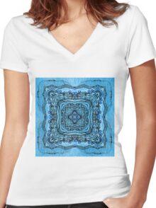 blue garden patttern Women's Fitted V-Neck T-Shirt