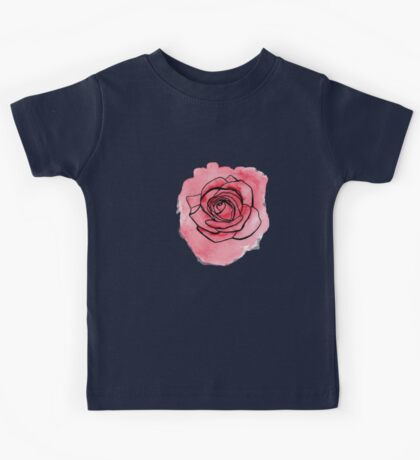 Pink Rose hand painted watercolor & ink by ArtByVourneen Kids Tee