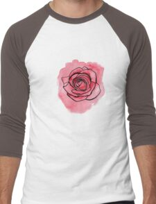Pink Rose hand painted watercolor & ink by ArtByVourneen Men's Baseball ¾ T-Shirt