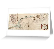 Vintage Map of New England Greeting Card