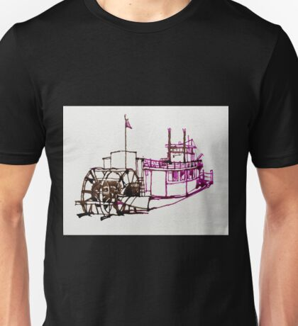 Paddle Wheel Steam Boat - ink drawing Unisex T-Shirt