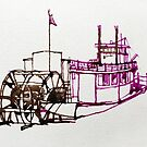 Paddle Wheel Steam Boat - ink drawing by Roz McQuillan