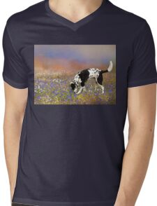 FLORAL FIELD WITH DOG Mens V-Neck T-Shirt