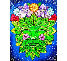 Floral Happy Green Man Photographic Print