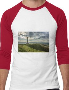 The Lansdowne Monument overlooking a sort of 'Neolithic Ampitheatre' in Wiltshire Men's Baseball ¾ T-Shirt