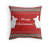 """Ugly"" Christmas sweater pattern Throw Pillow"