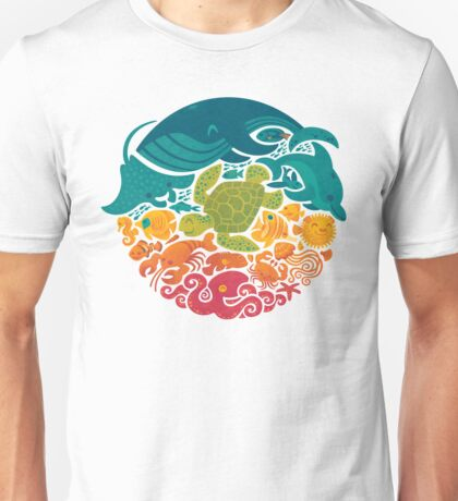 Aquatic Rainbow (light blue) Unisex T-Shirt