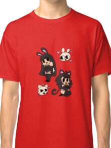 bunny and kitty - black Classic T-Shirt